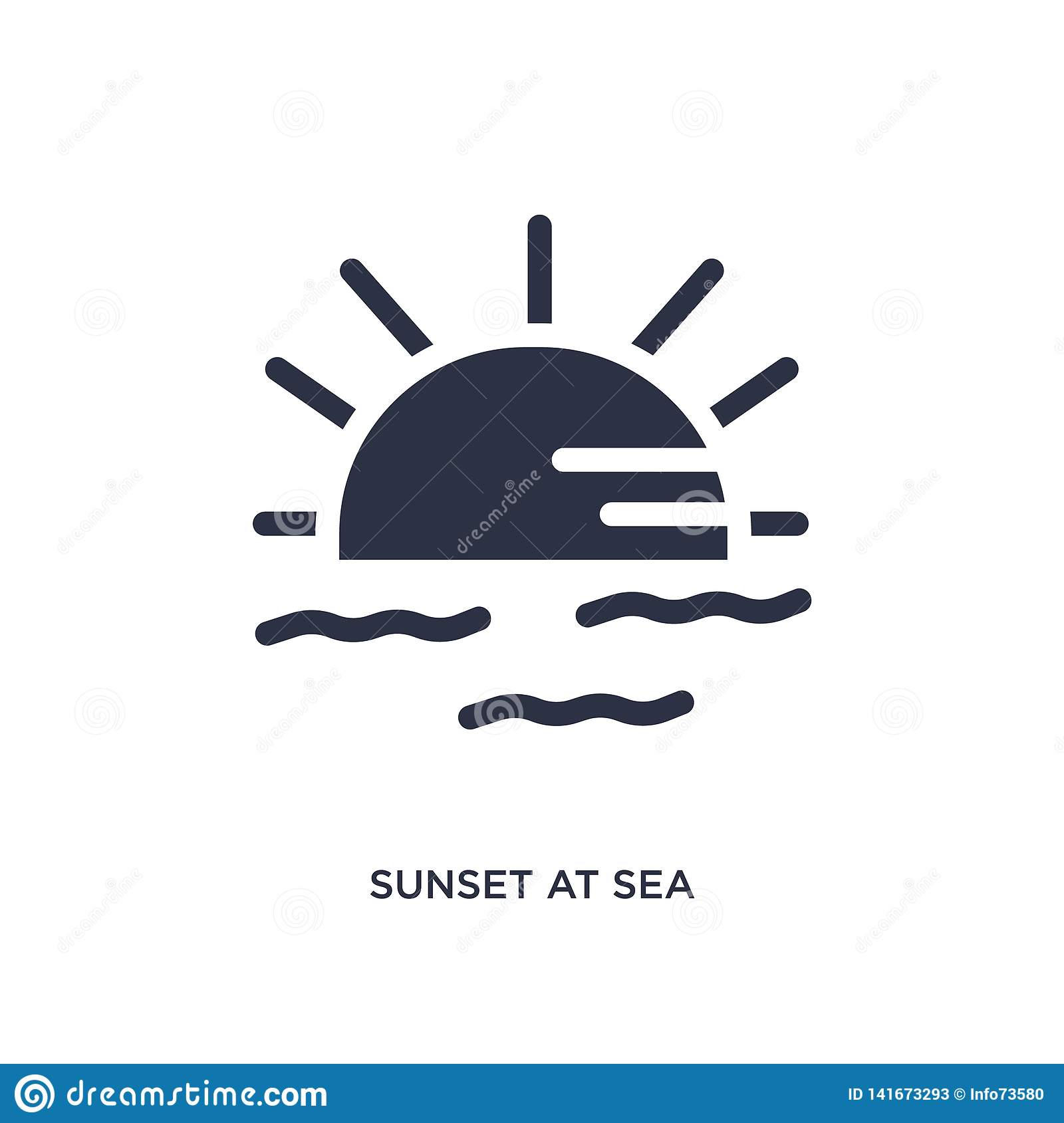 sunset at sea icon on white background. Simple element illustration from summer concept
