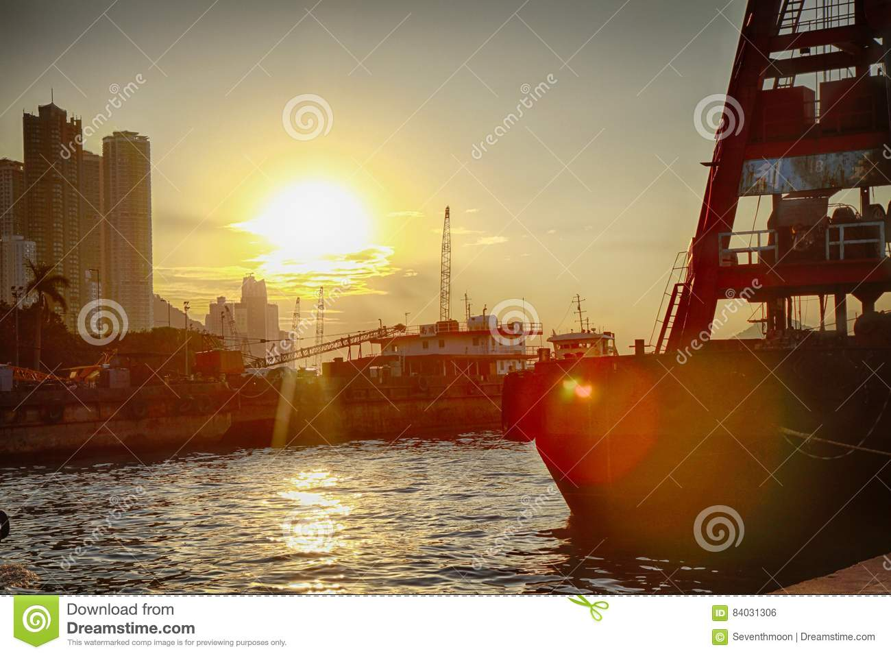 Sunset with sea and ship