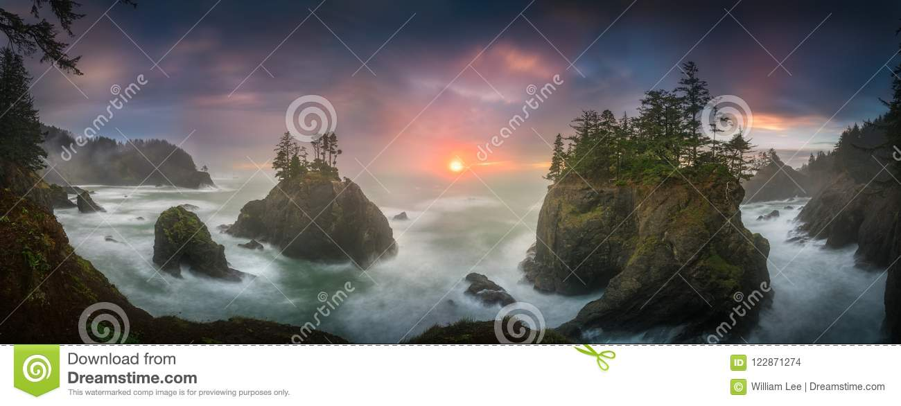 Download Sunset Between Sea Stacks With Trees Of Oregon Coast Stock Photo - Image of boardman, location: 122871274