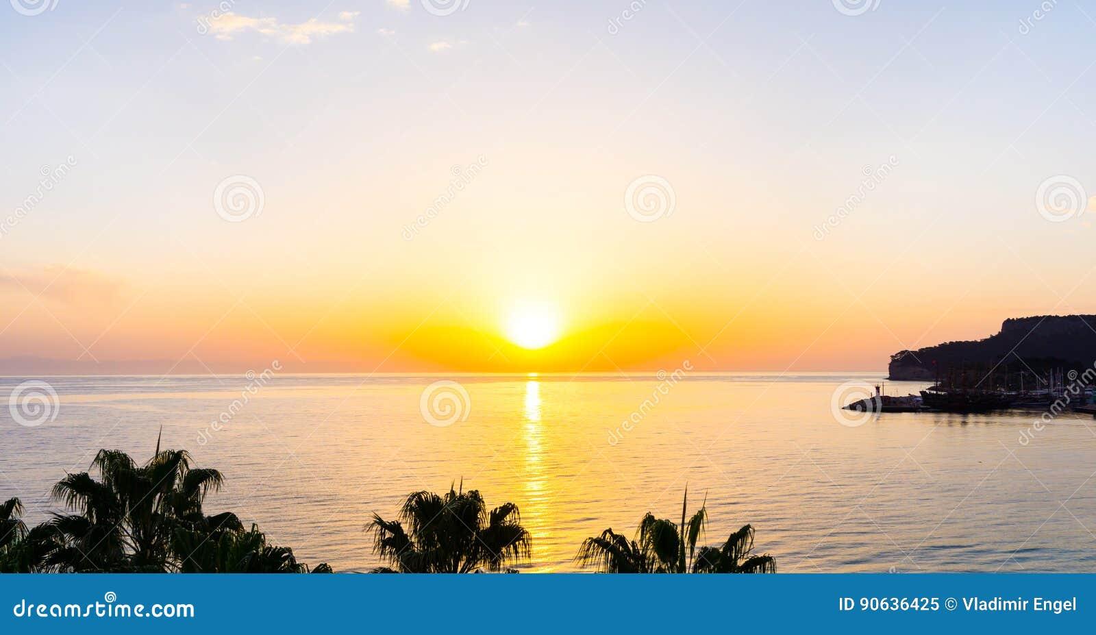 Sunset On The Sea Sunrise Wallpaper Stock Image Image Of Tree