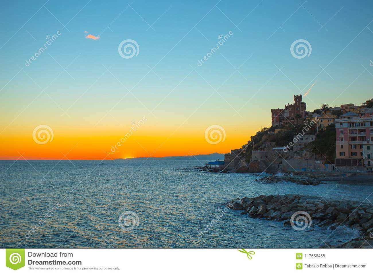 Sunset in the sea village with color huoses/ sunset/ Sun/houses/Genoa/Italy