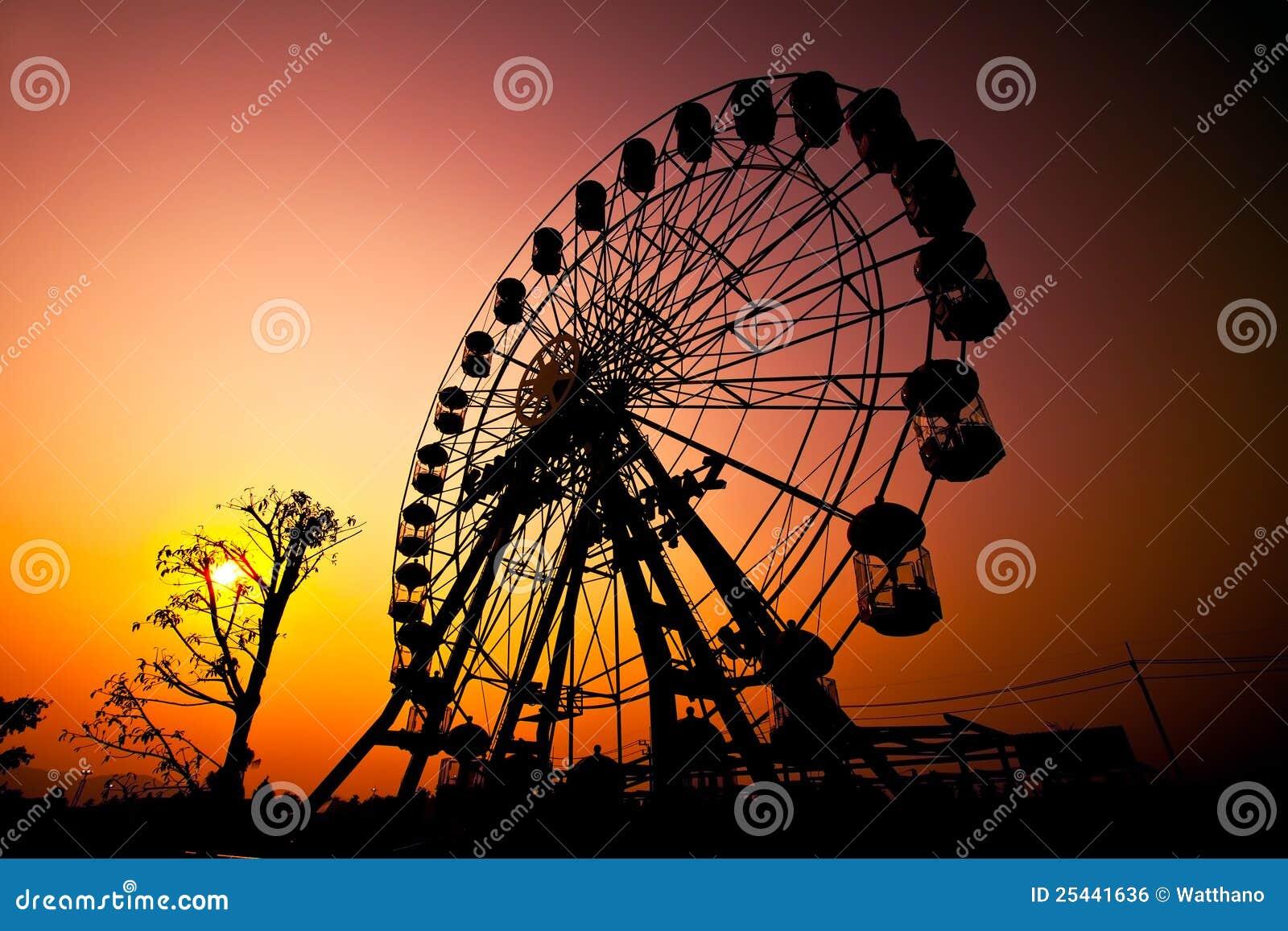 Sunset Silhouette Of Ferris Wheel Royalty Free Stock Image ...