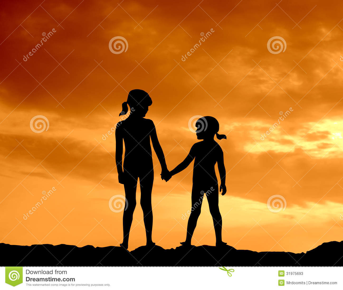 Silhouette Of Two Girls Holding Hands Against A Beautiful Sunset Two Sisters Holding Hands