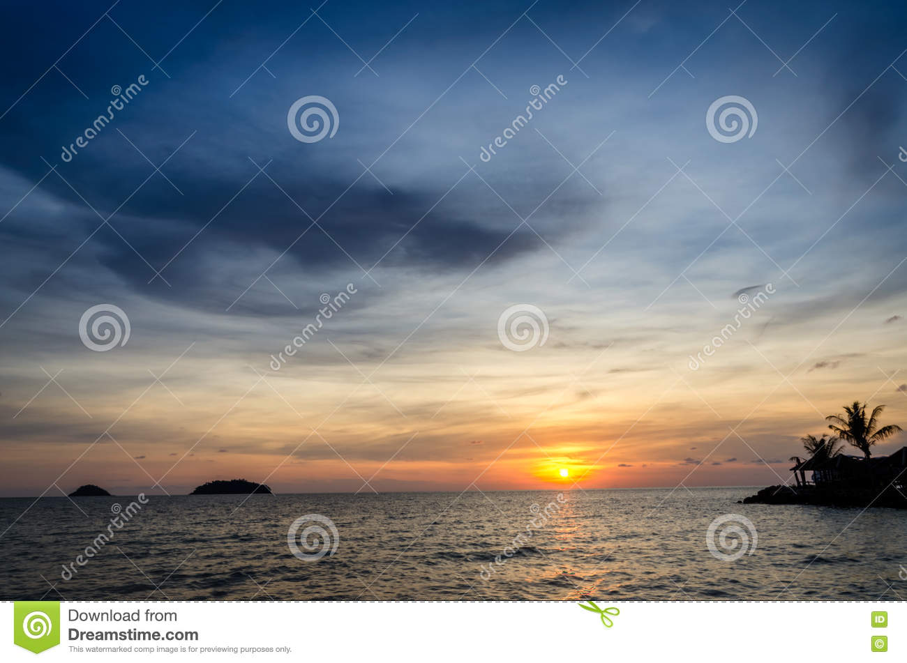Sunset sky over ocean