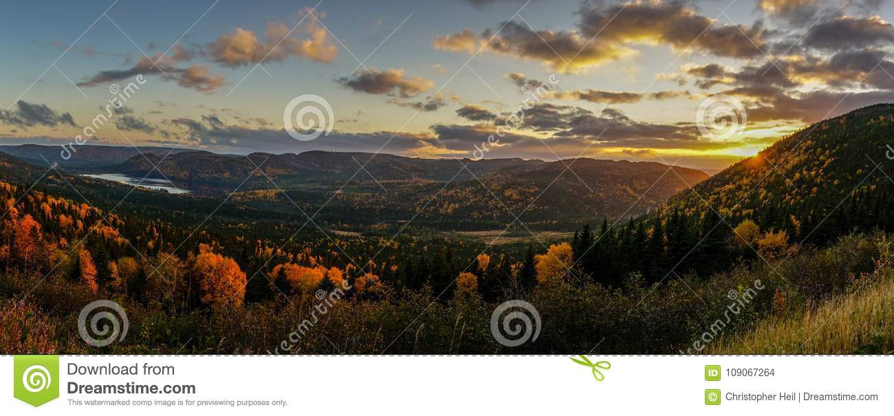 Sunset somewhere in Newfoundland during autumn. East Canada.