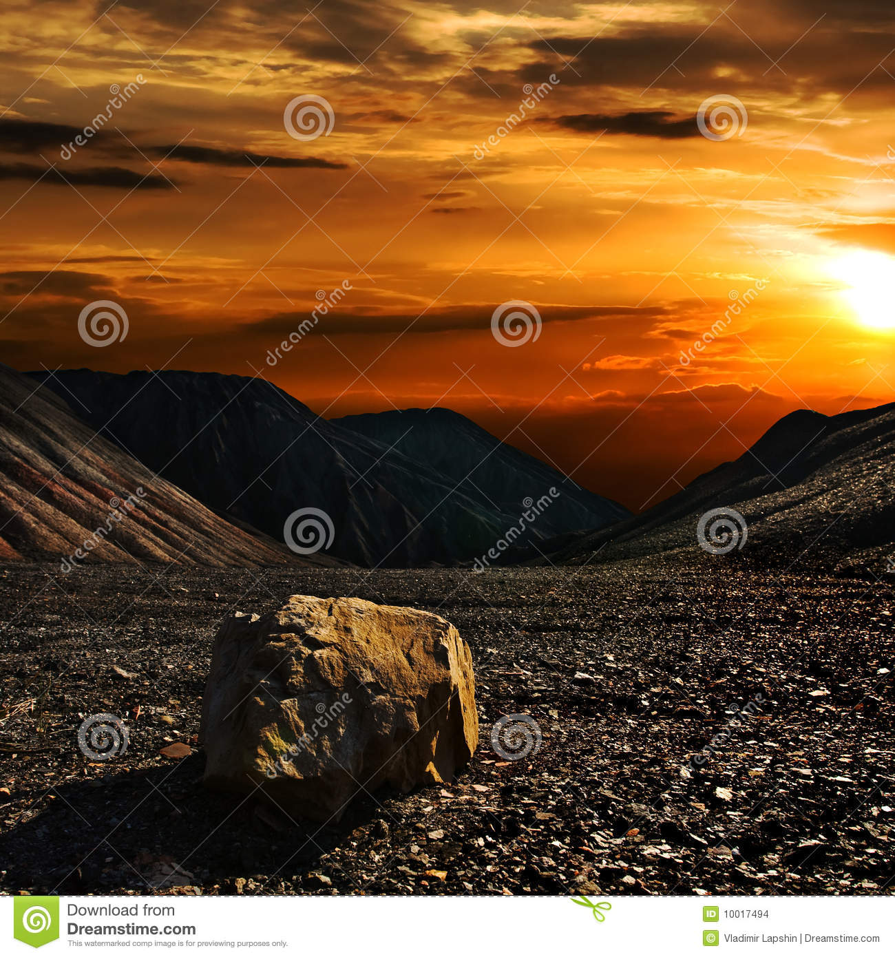 Sunset with the stone