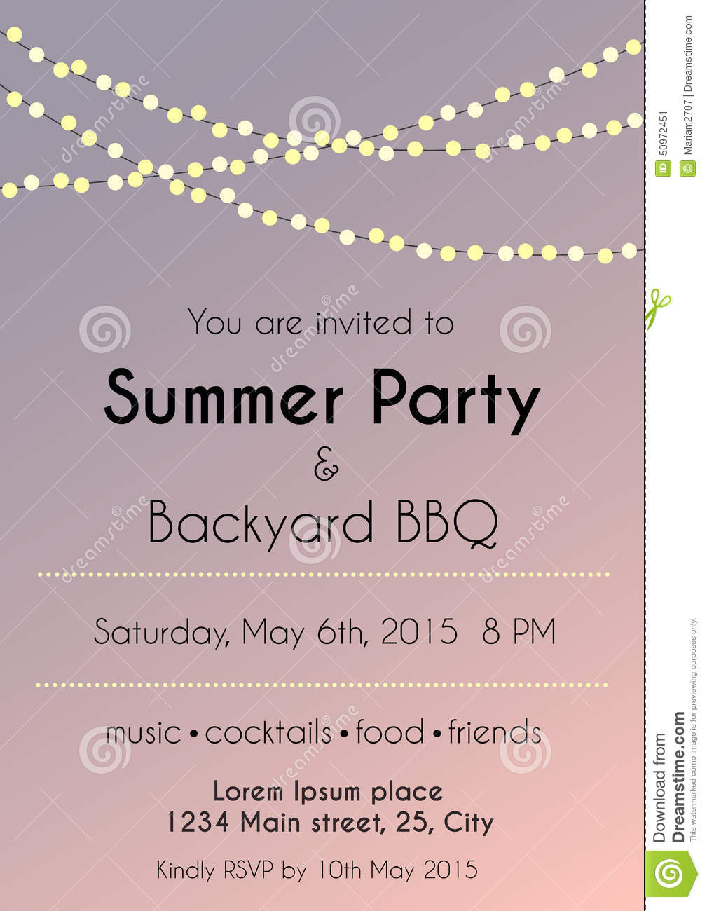 sunset summer party invitation stock vector image 50972451 sunset summer party invitation
