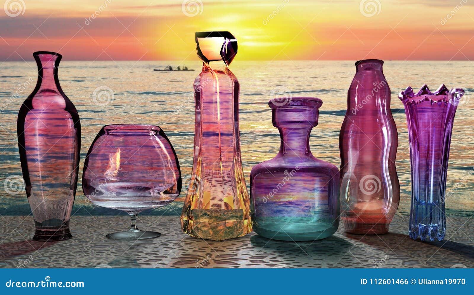 Sunset sun setting send last ultraviolet ray on the set of glass jars