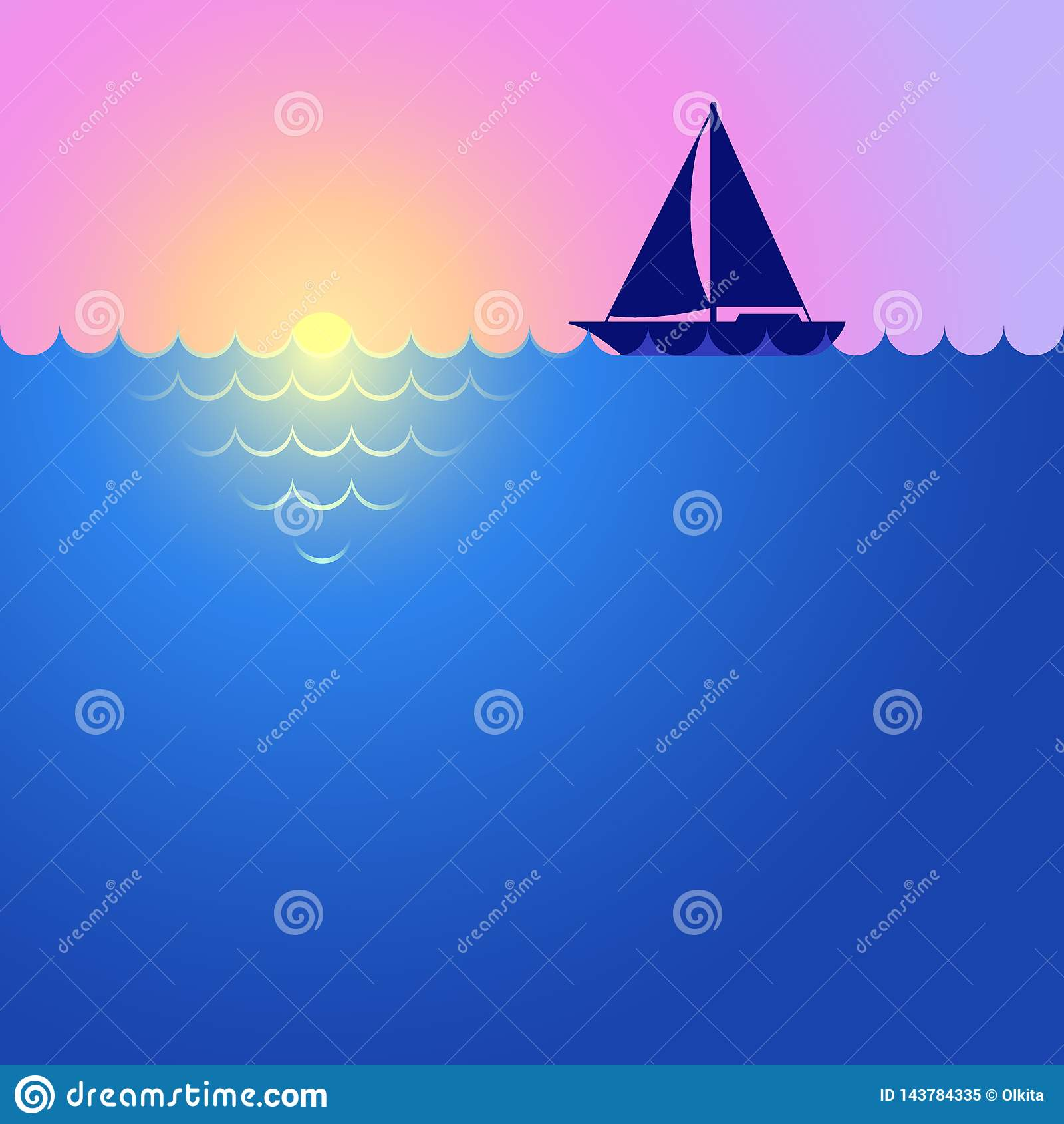 Sunset, sunrise, boat and ocean. Landscape with yacht. Yacht sailing on horizon. Sea cruise