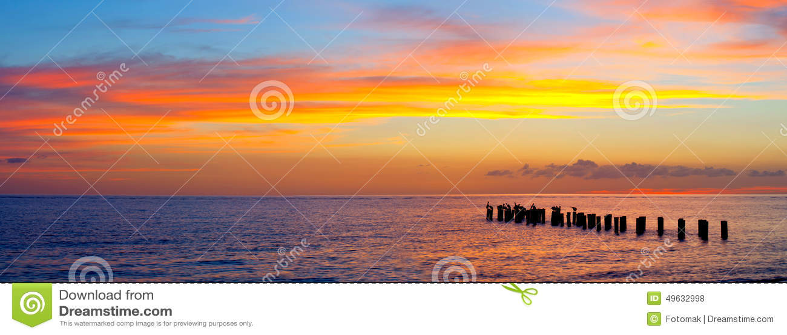 Sunset or sunrise landscape, panorama of beautiful nature, beach