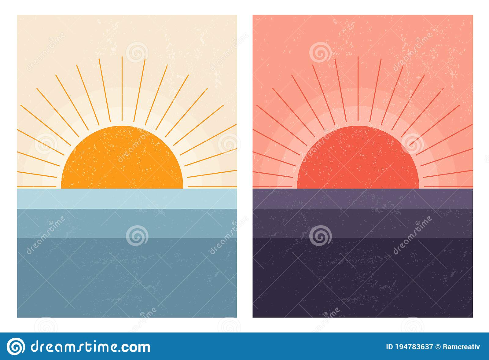 Picture of: Sunset Sunrise In Sea Abstract Mid Century Modern Scandinavian Landscape Minimal Art Nature Background Stock Vector Illustration Of Dawn Earth 194783637