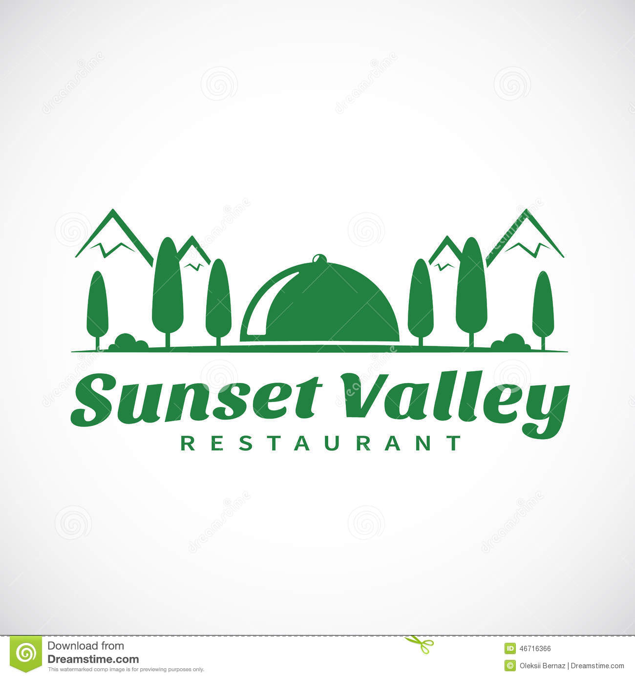 Sunset Or Sunrise Valley Abstract Vector Logo Stock Vector - Image ...