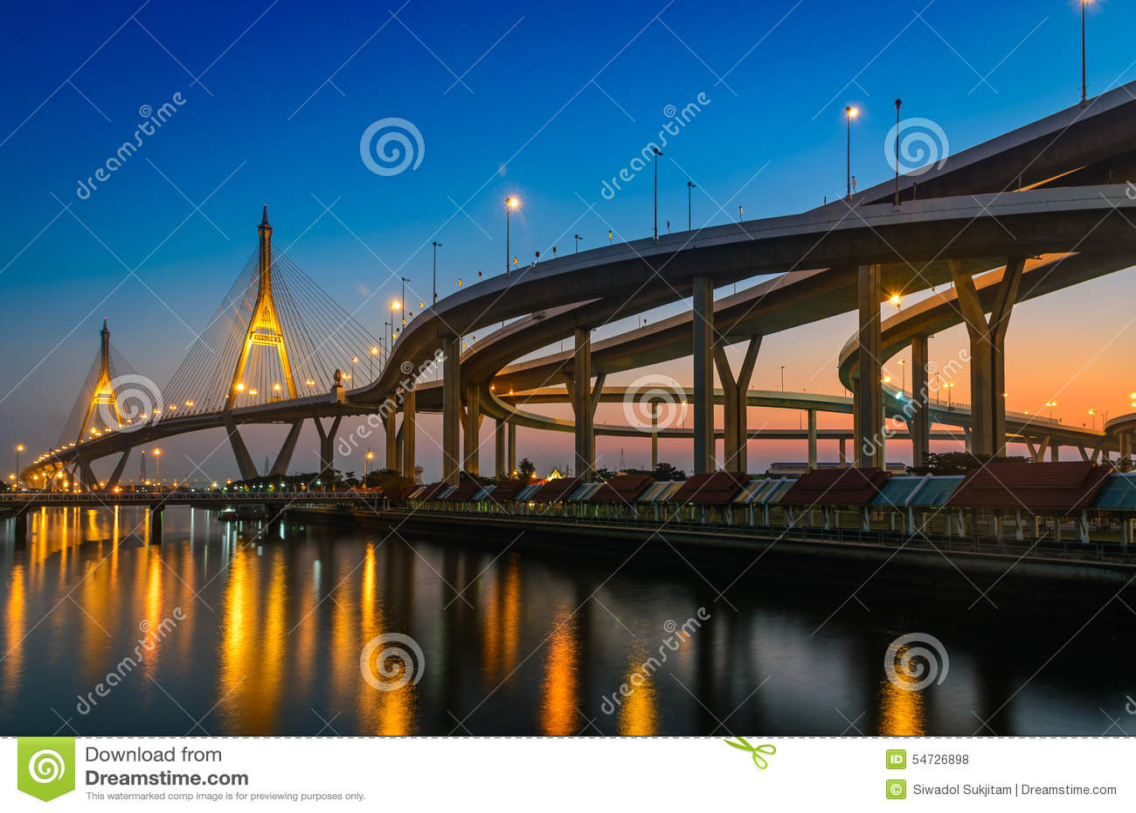 Sunset time at bhumibol bridge