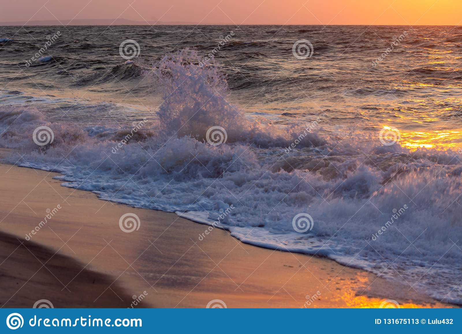 Stormy ocean of madagascar at sunset time