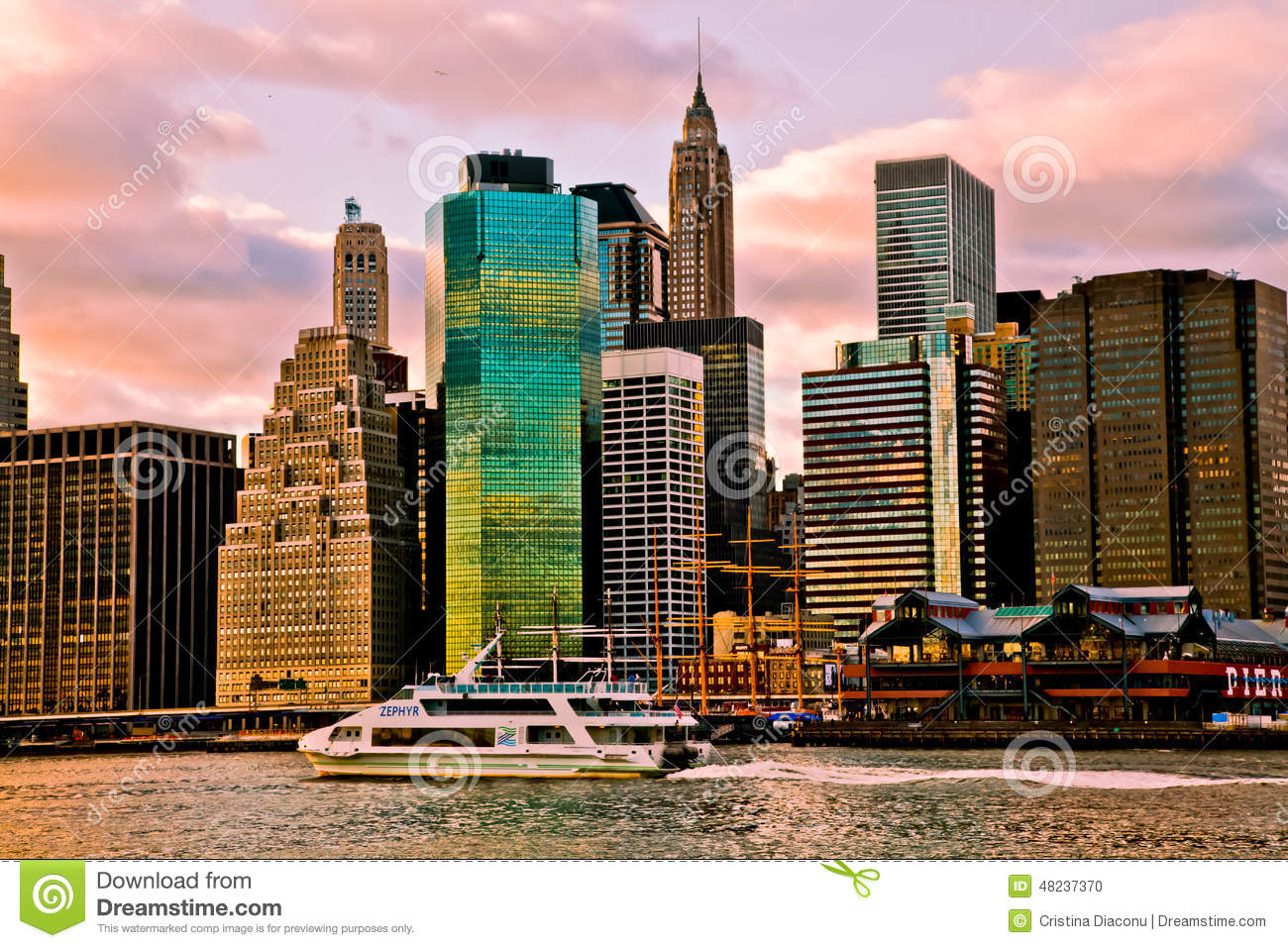 Sunset Time View Of Manhattan New York Usa Editorial Image Image