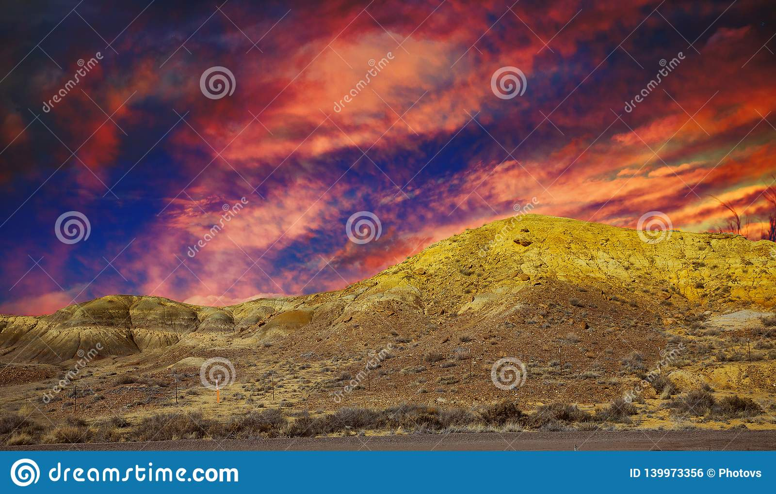 Natural Area in the mountains, New Mexico landscape with sunset