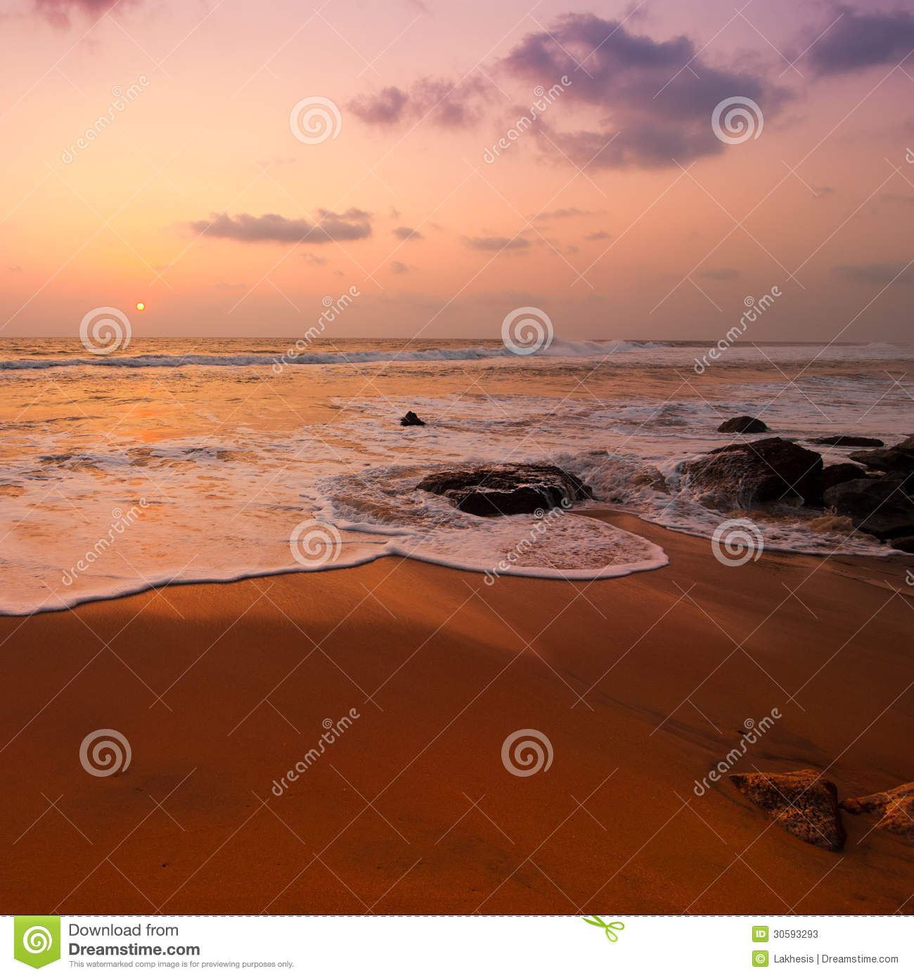 Sunset At Tropical Beach Stock Image. Image Of Climate