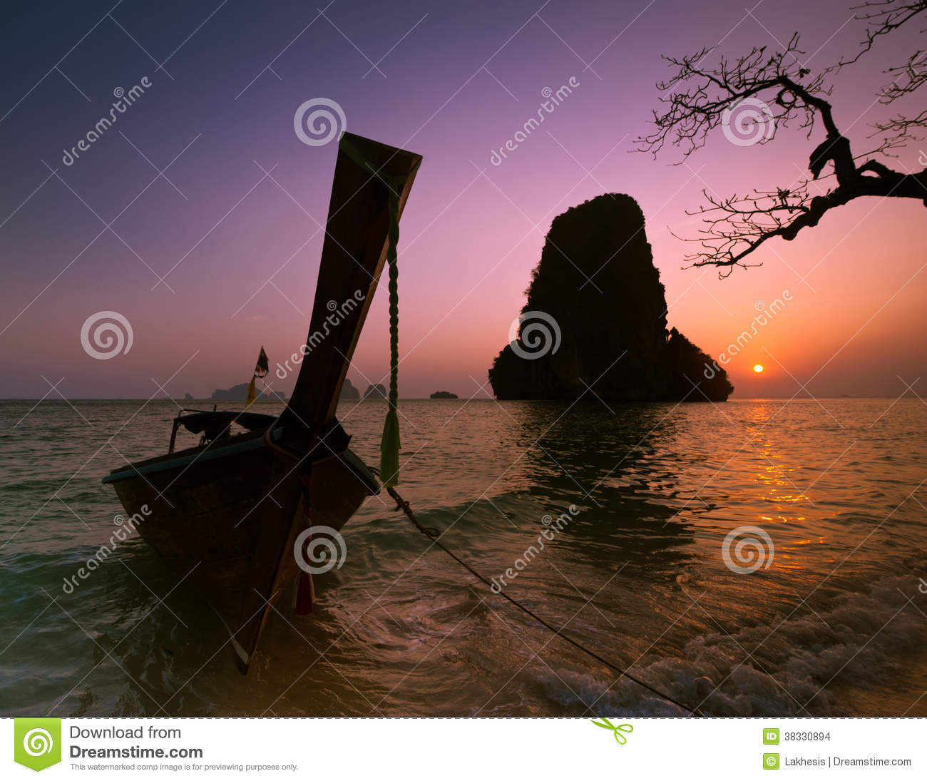 Sunset At Tropical Beach Landscape With Thai Traditional