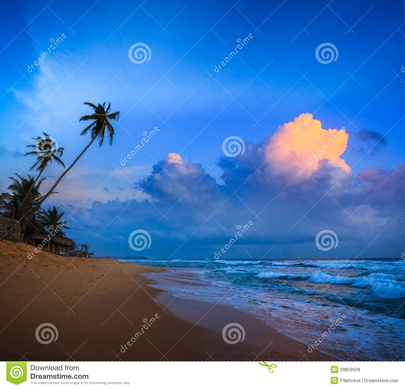 Sunset On Tropical Beach Stock Photo. Image Of Evening