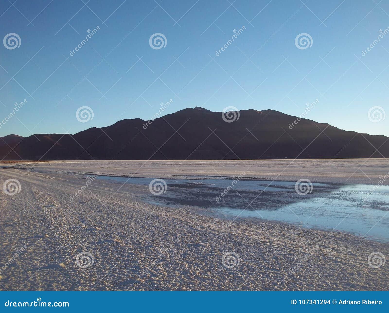 Sunset in the salt desert of Uyuni, Bolivia