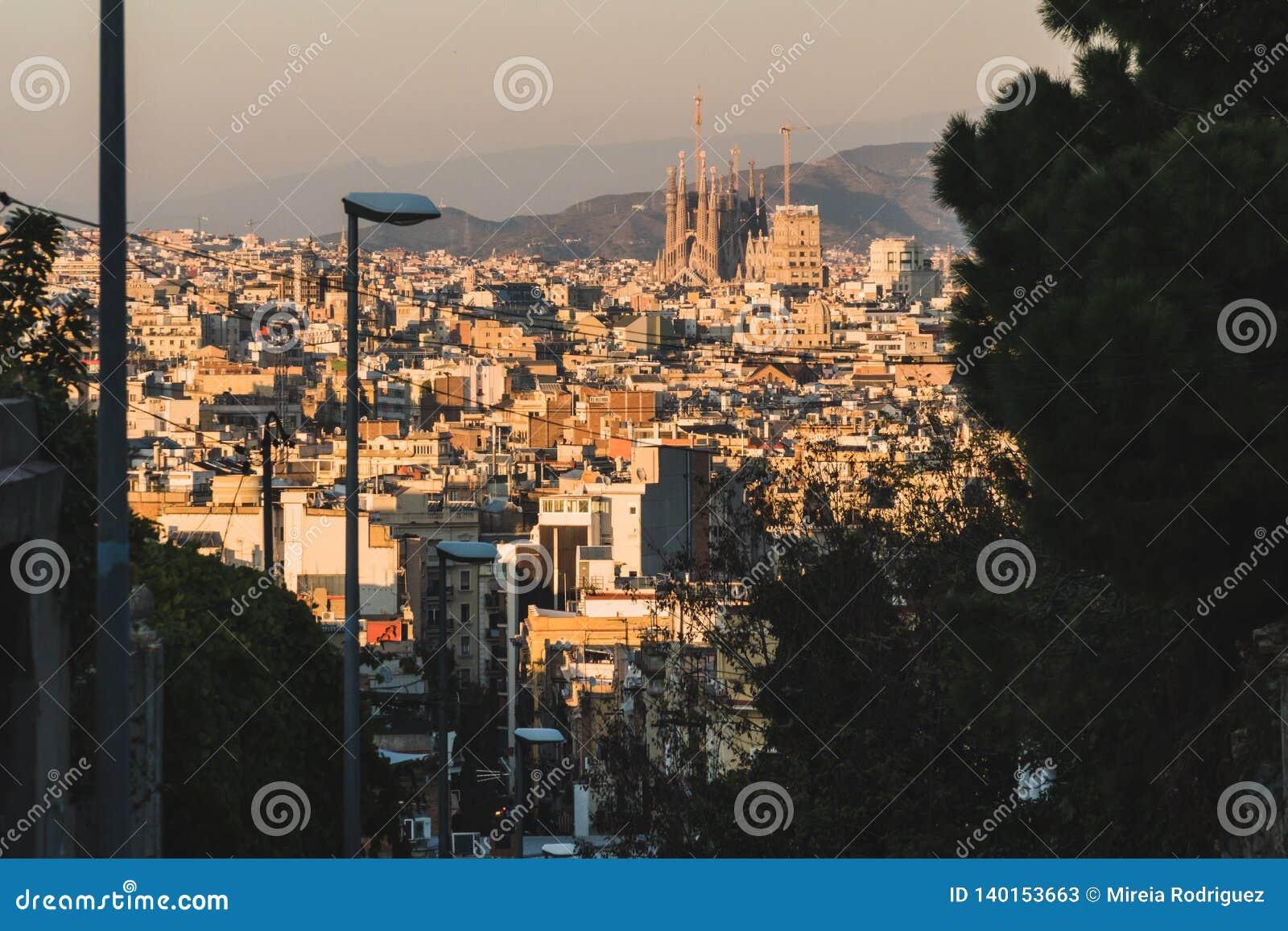 Sunset view of Barcelona skyline.