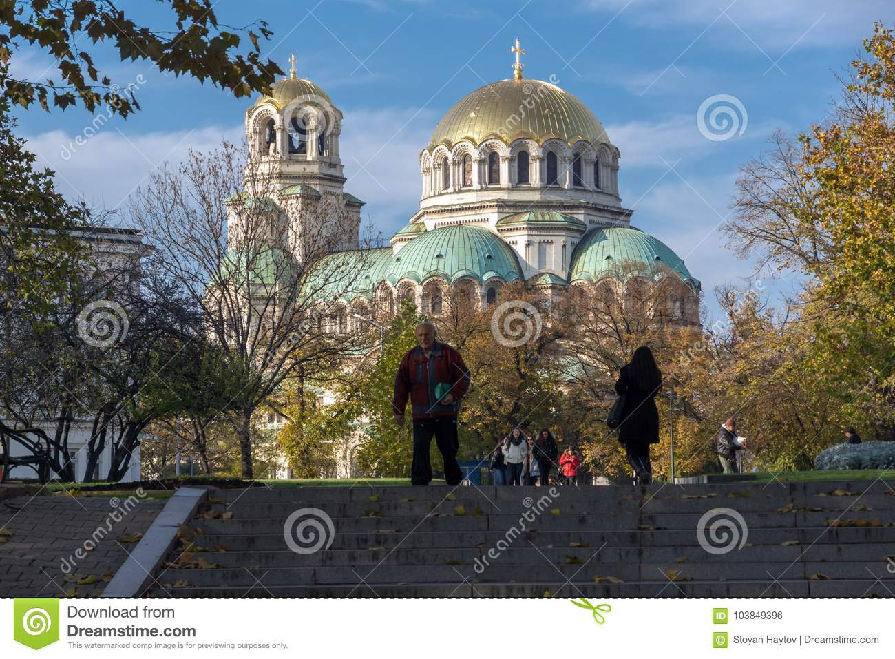 Sunset view of Cathedral Saint Alexander Nevski in Sofia, Bulgaria