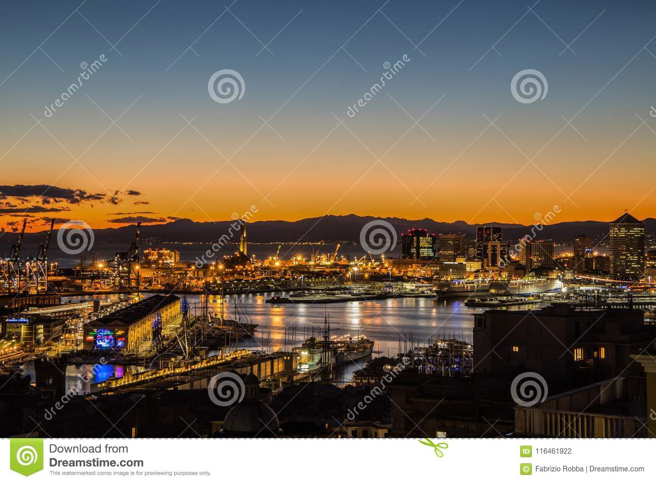 Sunset view of the city of Genoa, Italy/ Genoa landscape/ Genoa Skyline/ city landscape/ aereal view/ light/ city light/ orange/ s