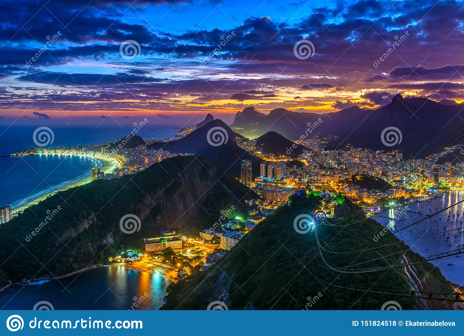 Sunset view of Copacabana, Corcovado, Urca and Botafogo in Rio de Janeiro