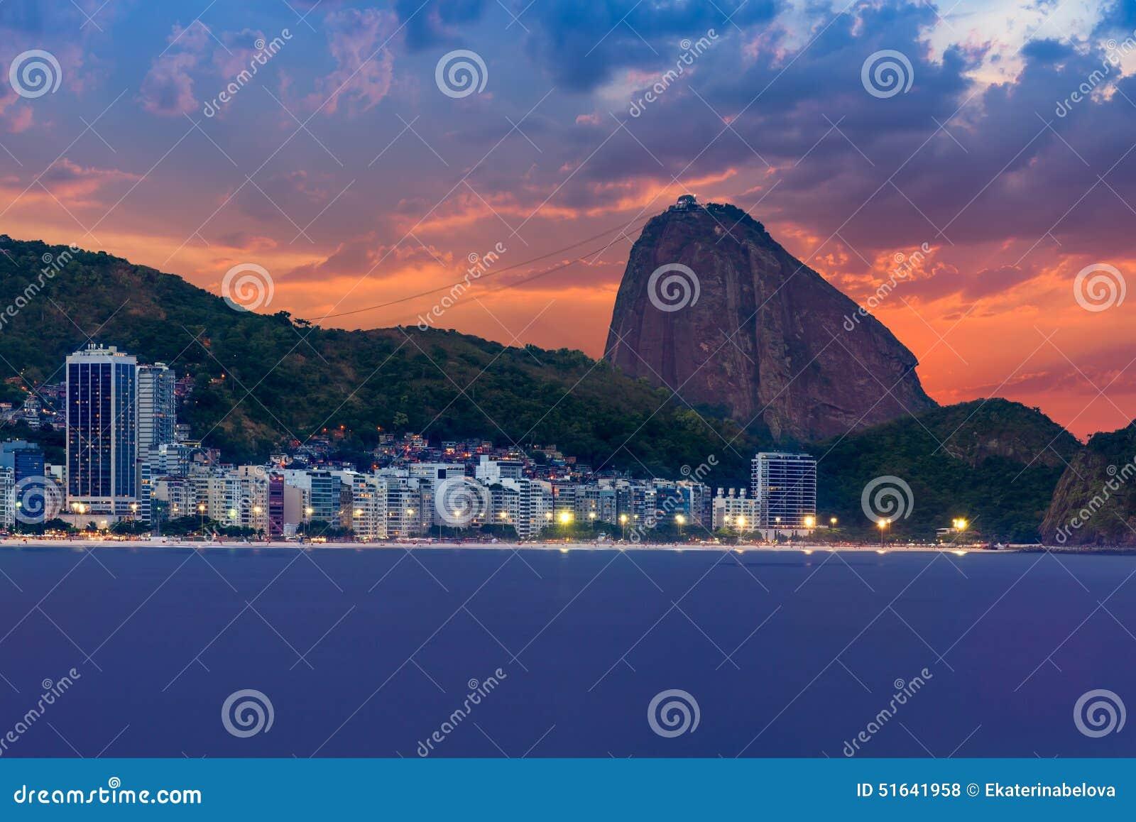 Sunset view of Copacabana, mountain Sugar Loaf in Rio de Janeiro