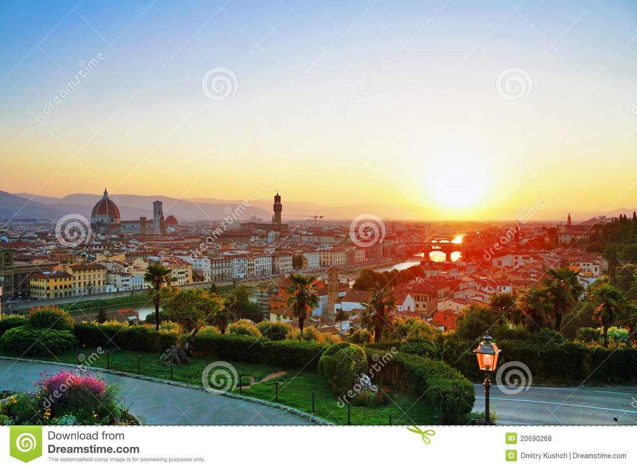 City Of Florence: Sunset With View Of Florence Royalty Free Stock Photos