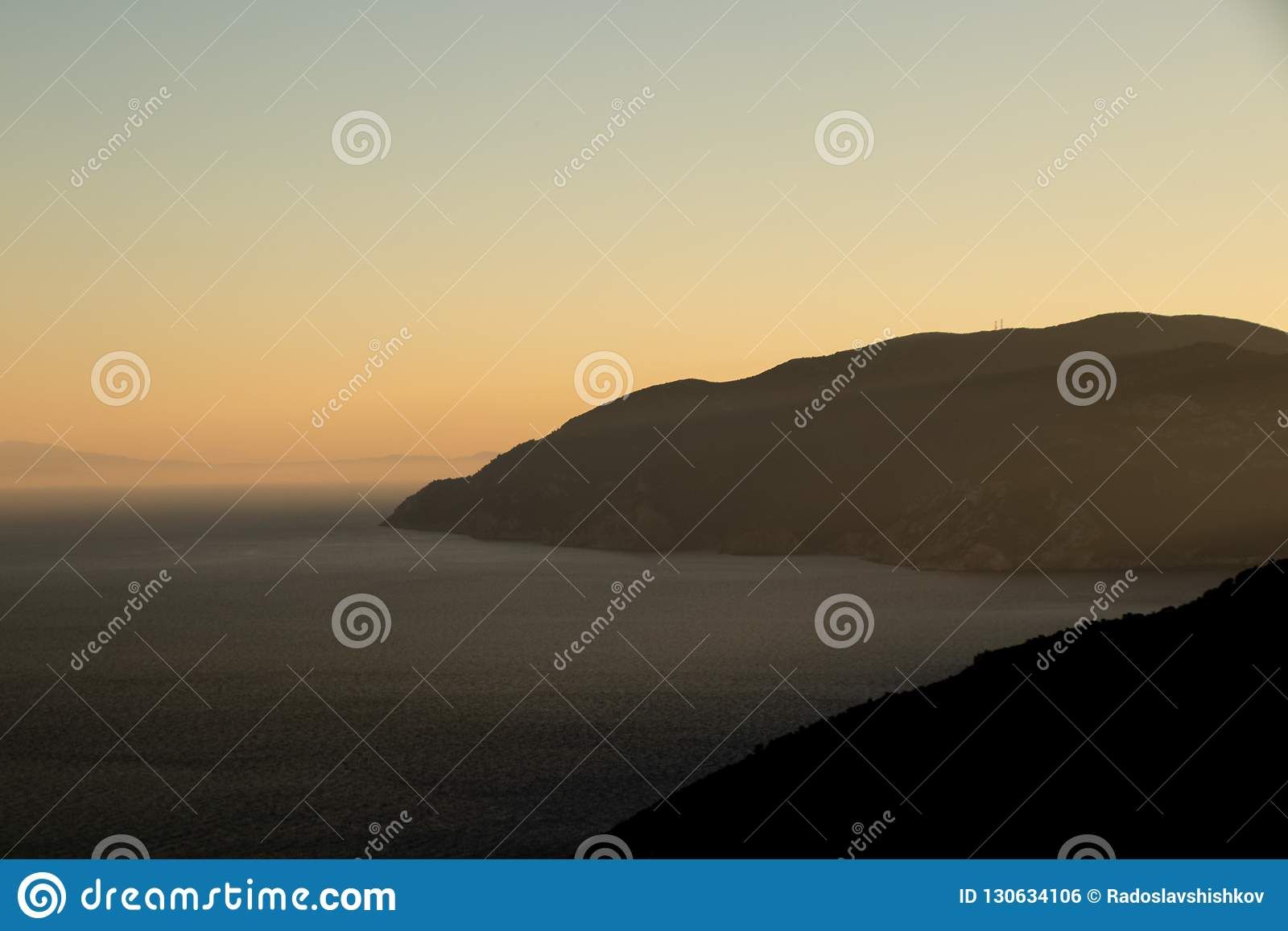 Sunset View at the Greek Island of Alonissos int the Aegean Sea, the Norhern Sporades