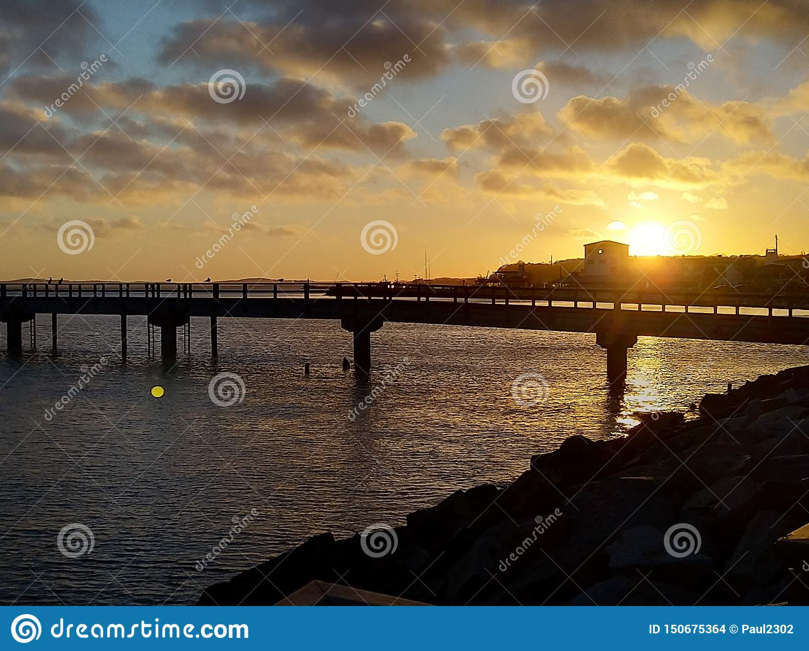 A sunset view of the Pier in the Port of Sassnitz