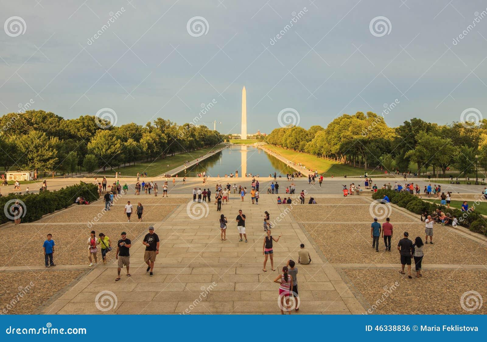 Sunset view to the National World War II Memorial in Washington DC