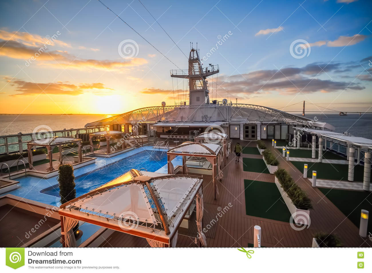 Sunset view from the top of a cruise ship stock photo for Cruise ship balcony view