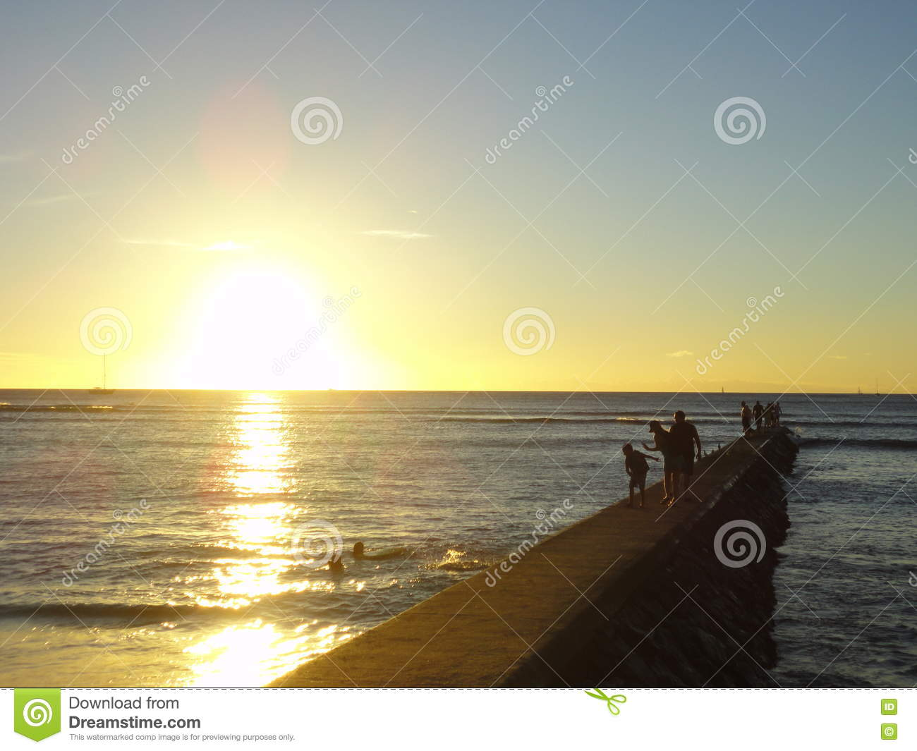 Sunset At Waikiki Beach Honolulu Editorial Stock Photo
