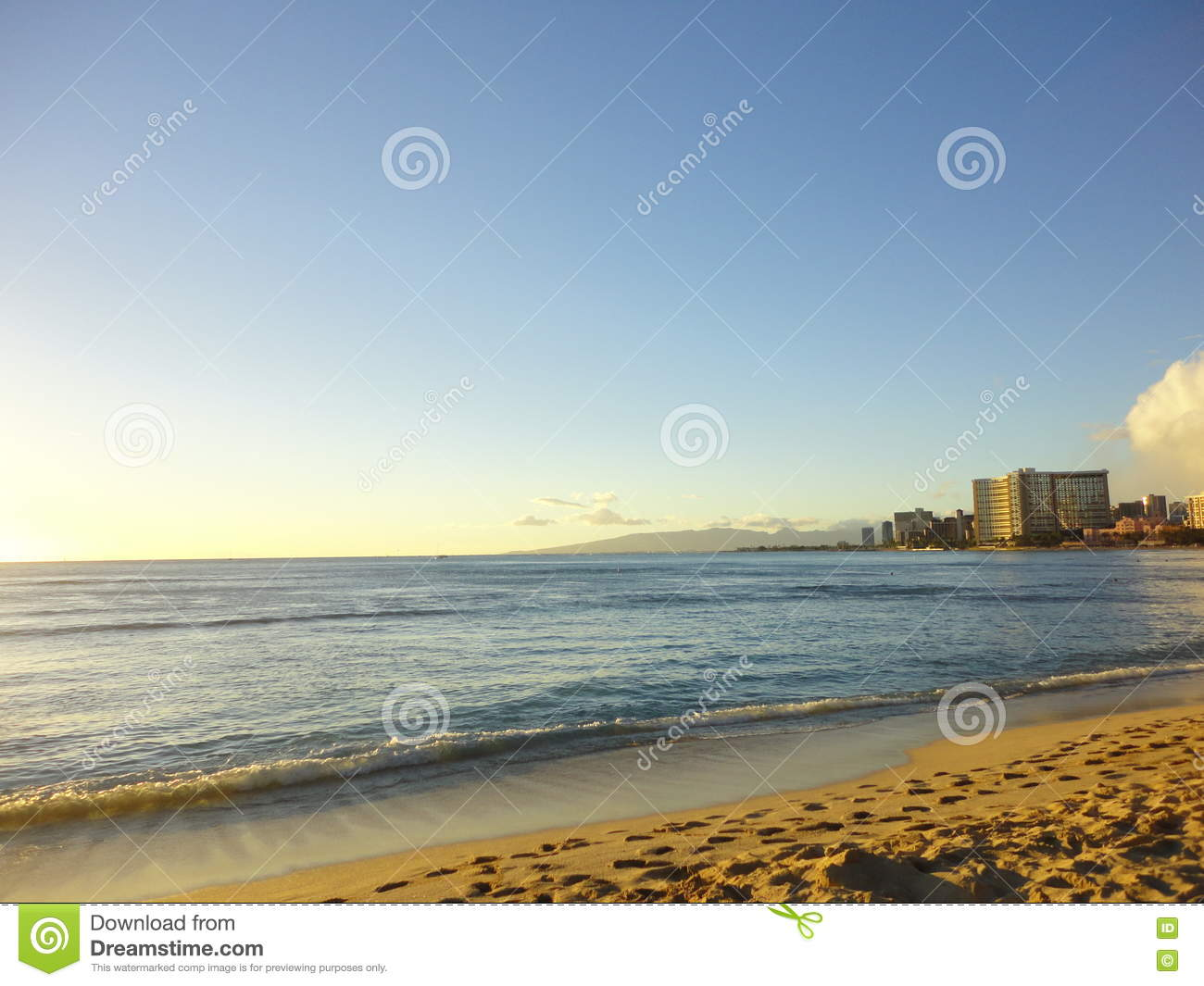 Sunset At Waikiki Beach Honolulu Stock Image Image Of