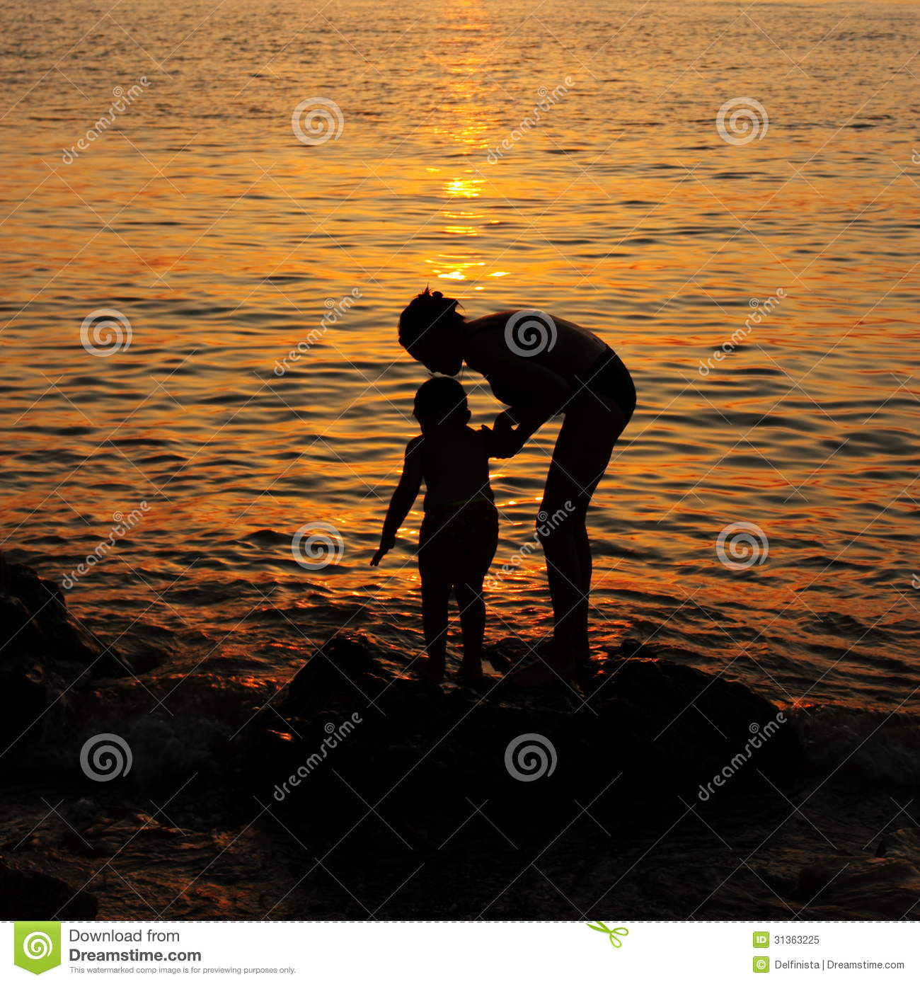 Sunset Wallpaper Mother And Child