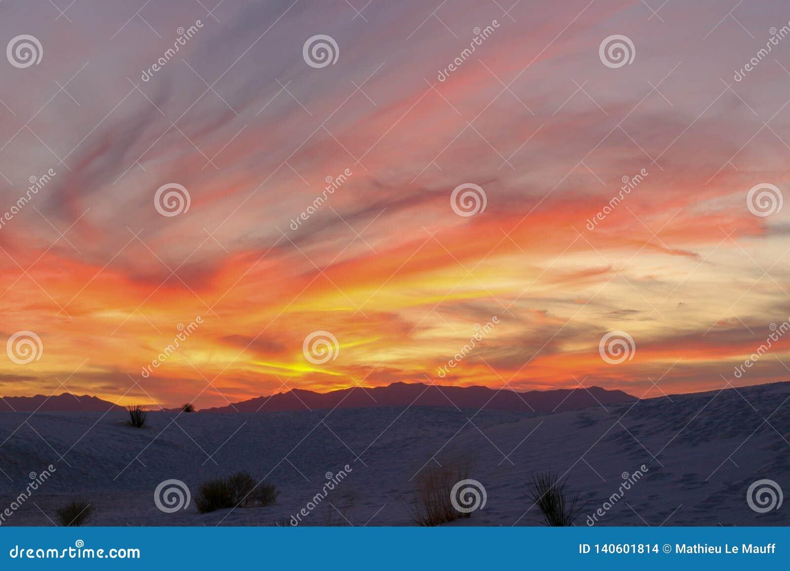 Sunset in White Sands Desert