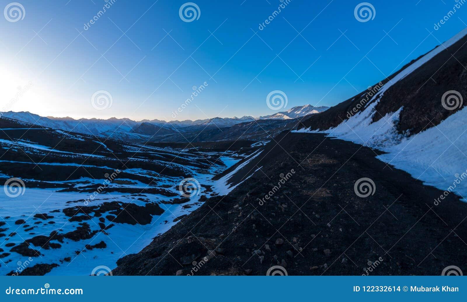 Sunset In Winter Spiti Landscape Of Spiti Valley Himachal Pradesh