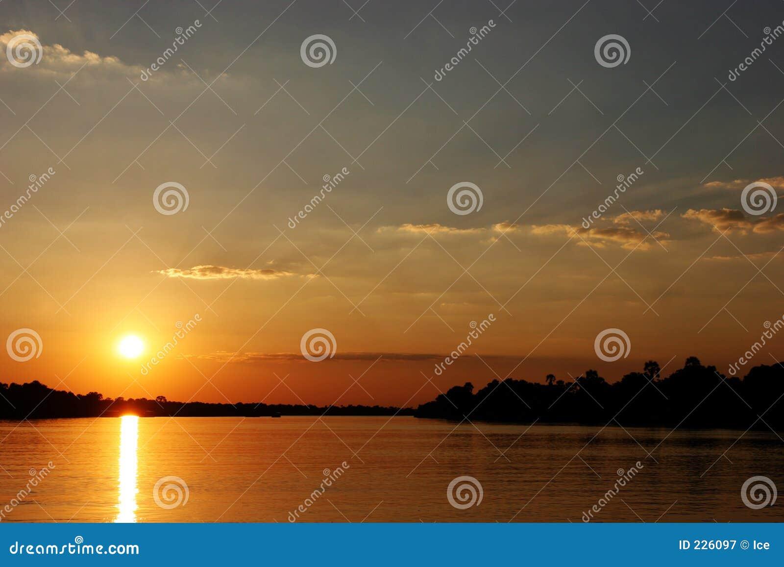 Download Sunset In Zimbabwe Over Zambezi River Stock Image - Image of horizon, outdoor: 226097