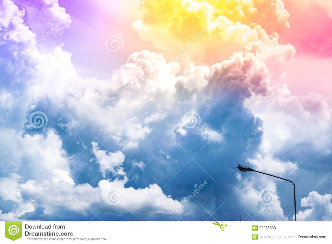 Sunshine the blue sky with cloud blurry background. Using wallpaper or background for nature, natural, and refreshing.