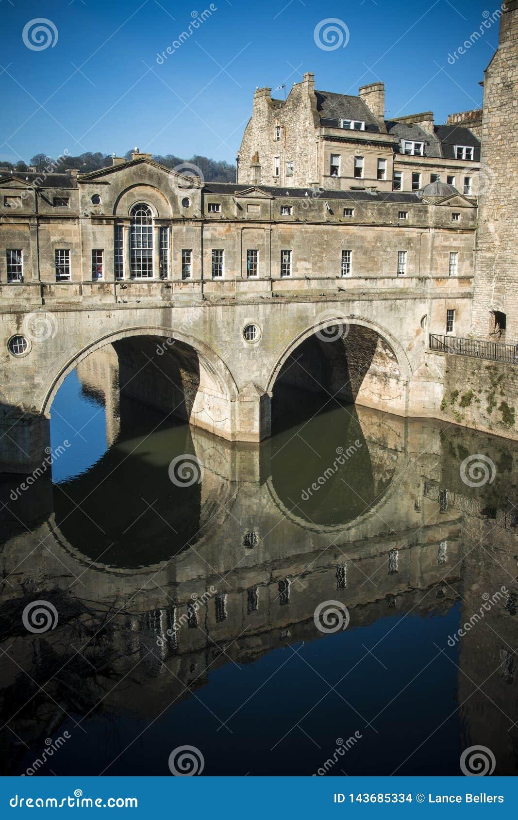 Bath Pulteney Bridge in sunshine in the Somerset city