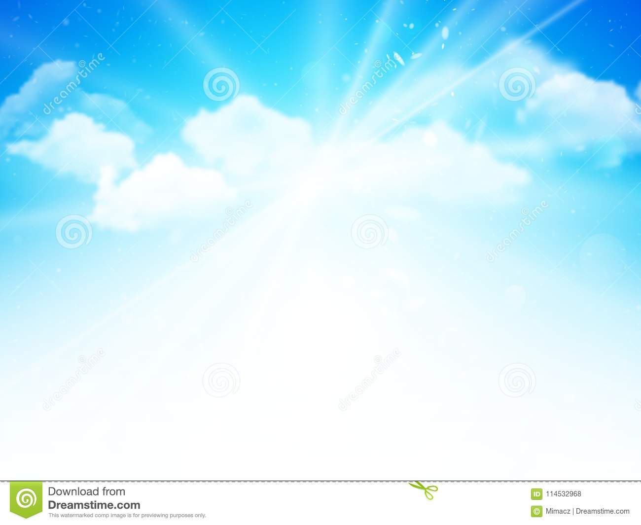 Sunshine sky, abstract blue clouds background