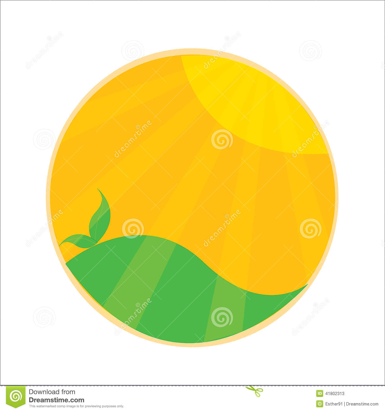 sunshine sun green vector logo stock vector image