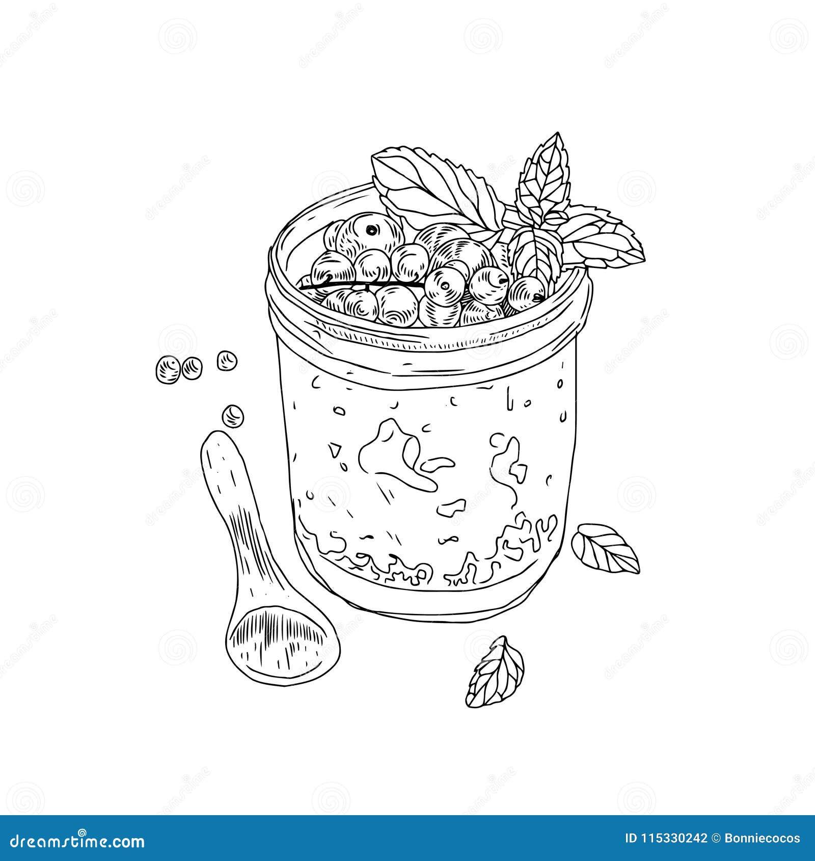 Sunt livsstilbegrepp för vektor Den drog handen skissar illustrationen med den sunda bunken för granola för frukostsädesslag, ske