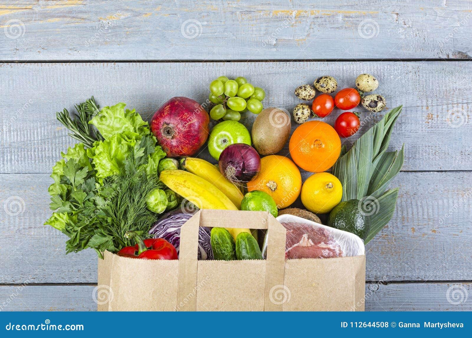 Sunt mat, livsmedelsbutik, bakgrund, korg, påse, grönsaker, fis