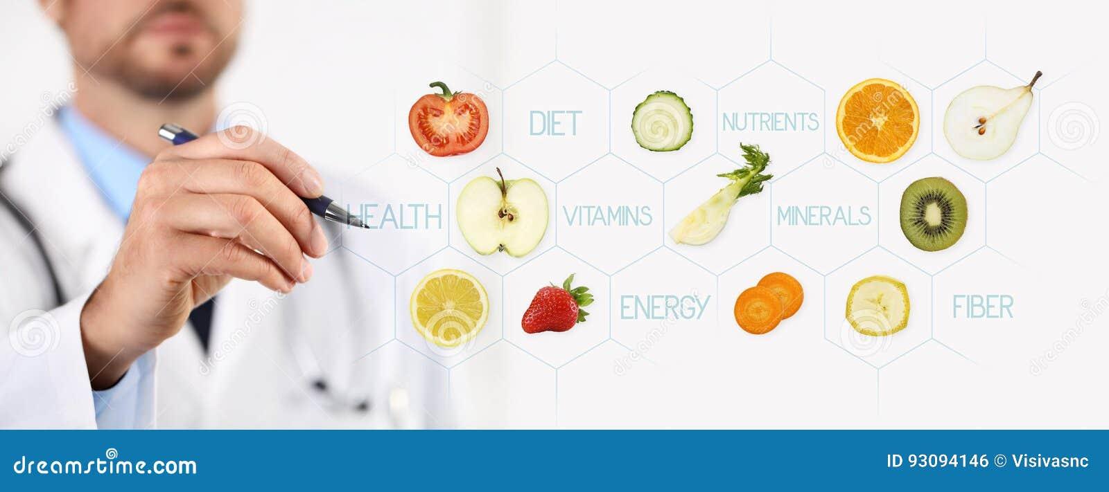 Sunt matbegrepp, hand av näringsfysiologdoktorn som pekar frukt