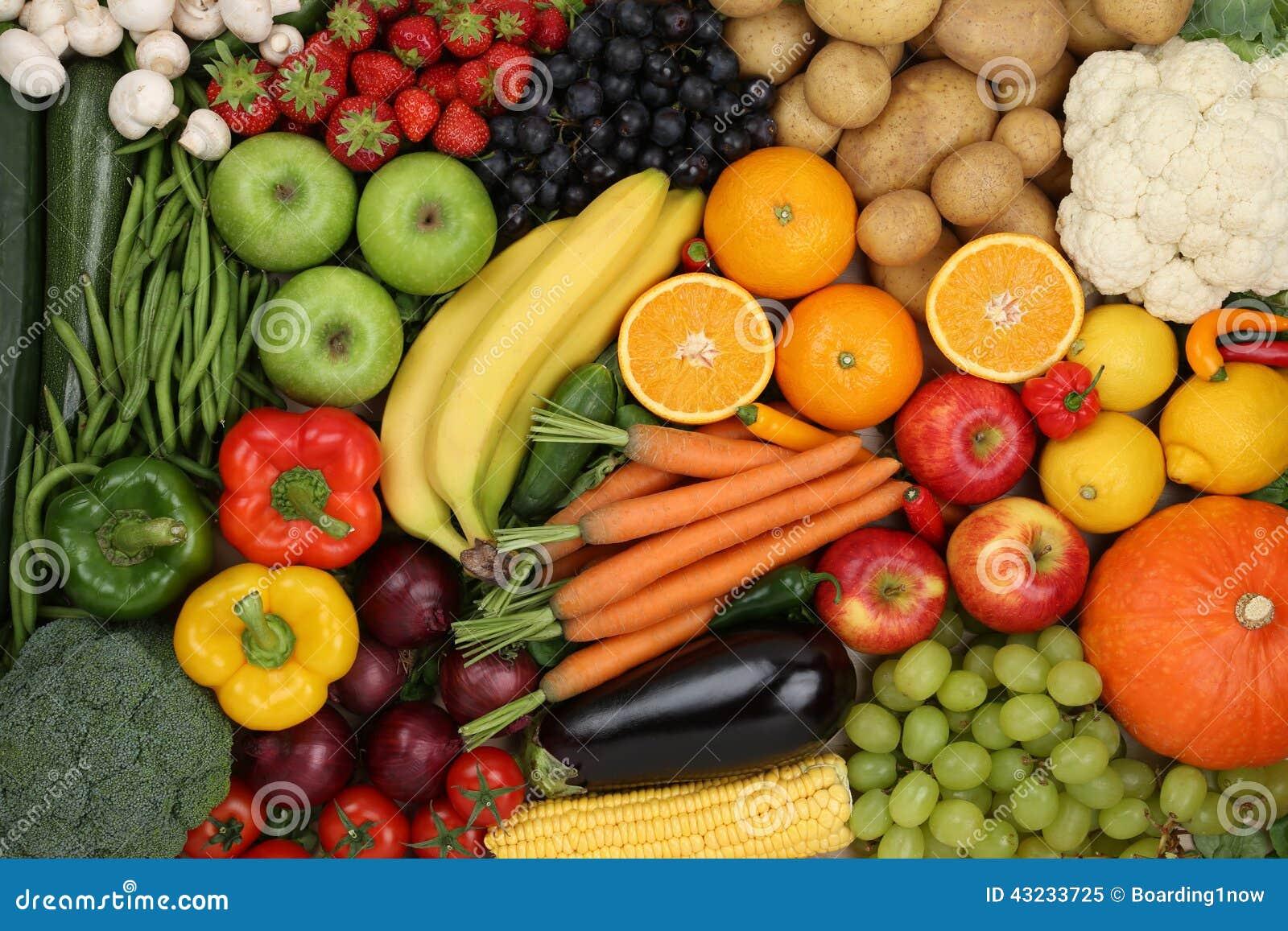 Sunt vegetarisk frukt- och grönsakbakgrund för äta