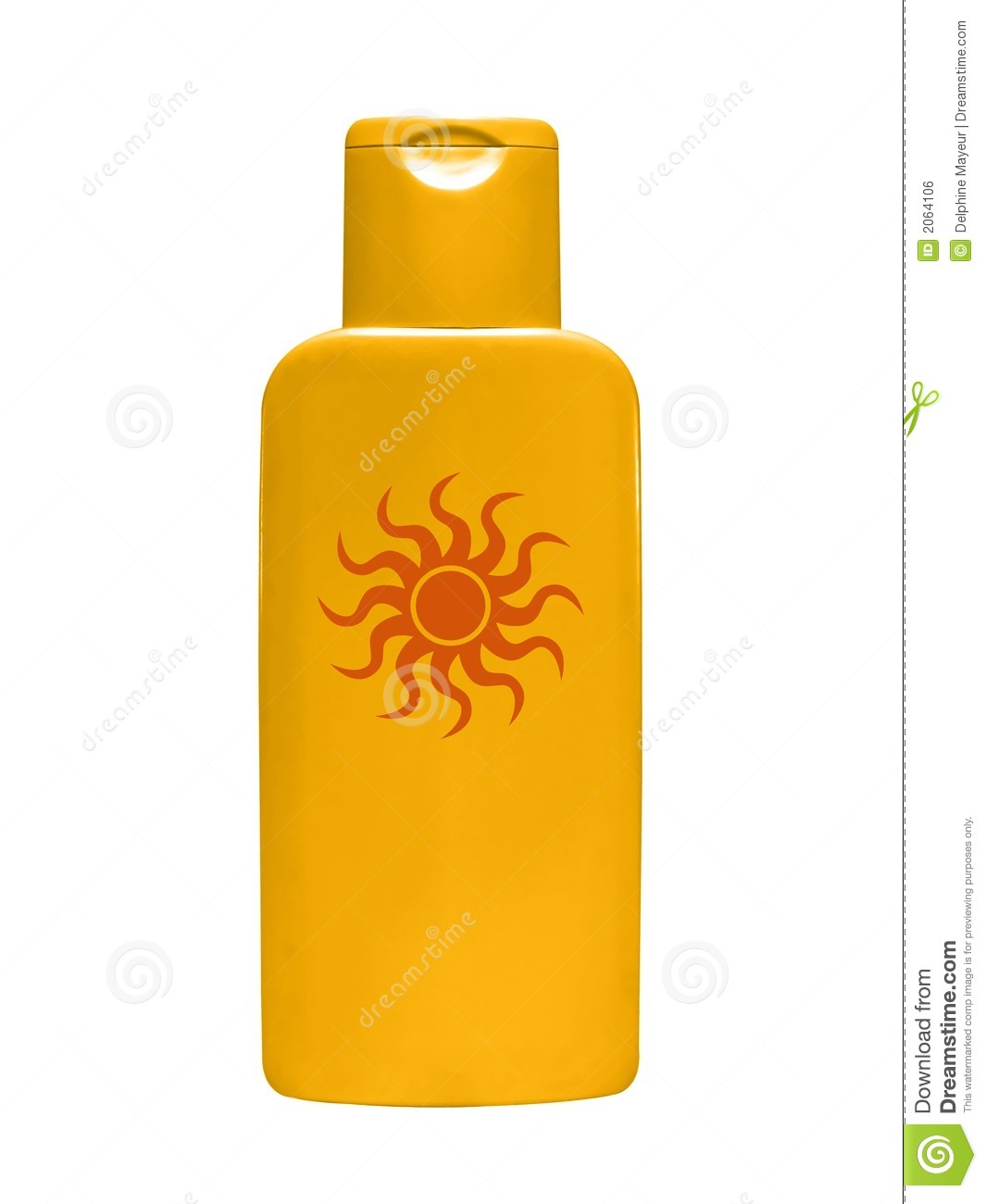Golden plastic bottle of sun block cream on white background.