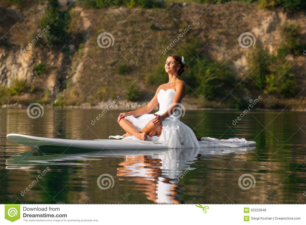 Sup Bride Yoga Meditation Stock Photo Image Of Lifestyle